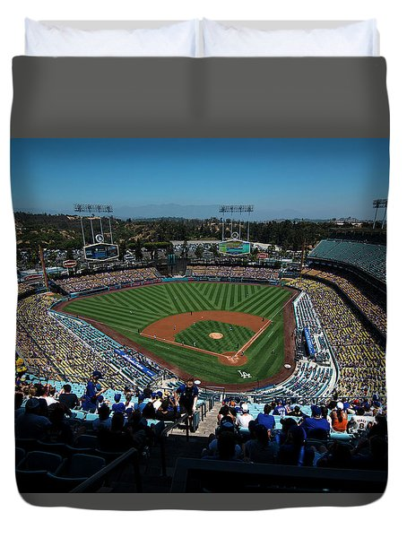 Duvet Cover featuring the photograph Los Angeles Dodgers Dodgers Stadium Baseball 2043 by David Haskett