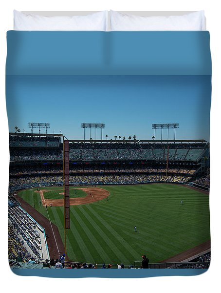 Duvet Cover featuring the photograph Los Angeles Dodgers Dodgers Stadium Baseball 2063 by David Haskett