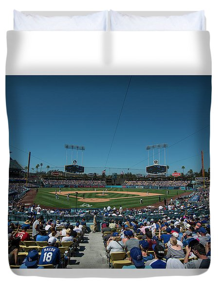 Duvet Cover featuring the photograph Los Angeles Dodgers Dodgers Stadium Baseball 2110 by David Haskett