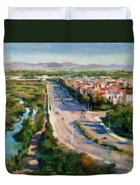 Los Angeles - Playa Vista From South Bluff Trail Road Duvet Cover
