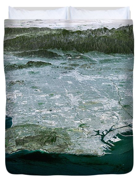 Los Angeles, Radar Image Duvet Cover by NASA / Science Source