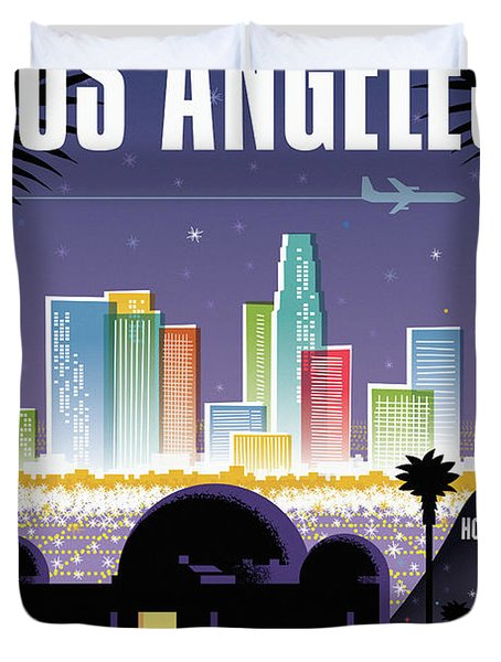 Los Angeles Poster - Retro Travel  Duvet Cover