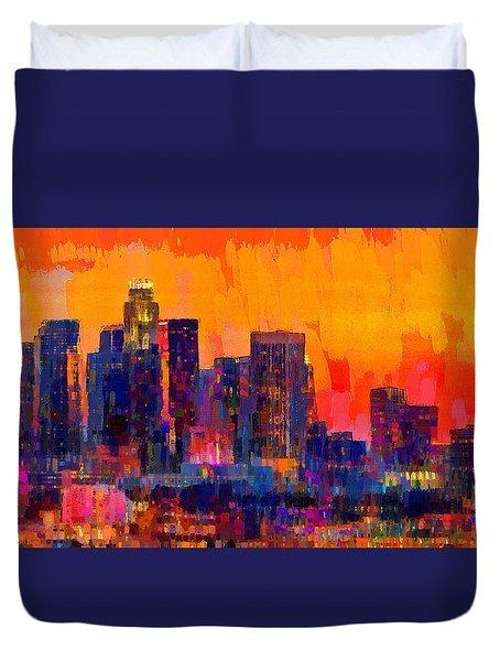 Los Angeles Skyline 113 - Da Duvet Cover