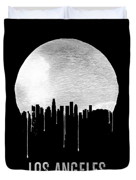 Los Angeles Skyline Black Duvet Cover by Naxart Studio