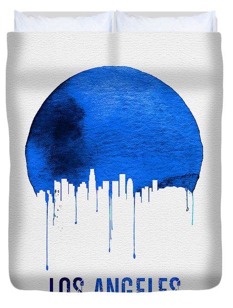 Los Angeles Skyline Blue Duvet Cover by Naxart Studio