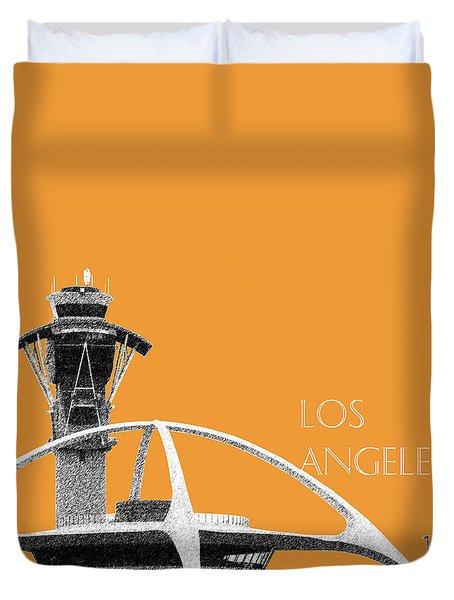 Los Angeles Skyline Lax Spider - Orange Duvet Cover by DB Artist