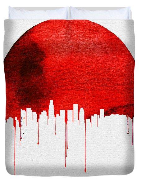 Los Angeles Skyline Red Duvet Cover