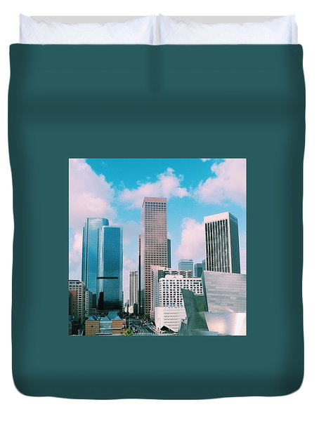 Los Angeles Skyline Duvet Cover by Robert Ceccon