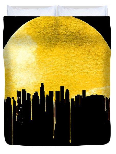 Los Angeles Skyline Yellow Duvet Cover