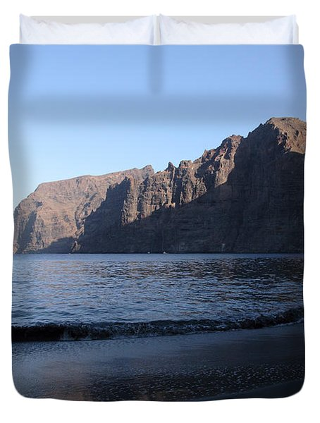 Los Gigantes Yacht Duvet Cover by Phil Crean