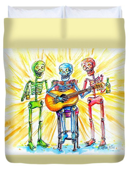 Duvet Cover featuring the painting Los Tres Cantantes by Heather Calderon