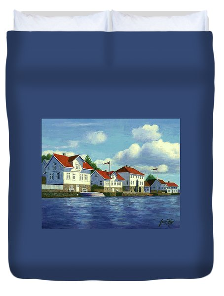 Duvet Cover featuring the painting Loshavn Village Norway by Janet King