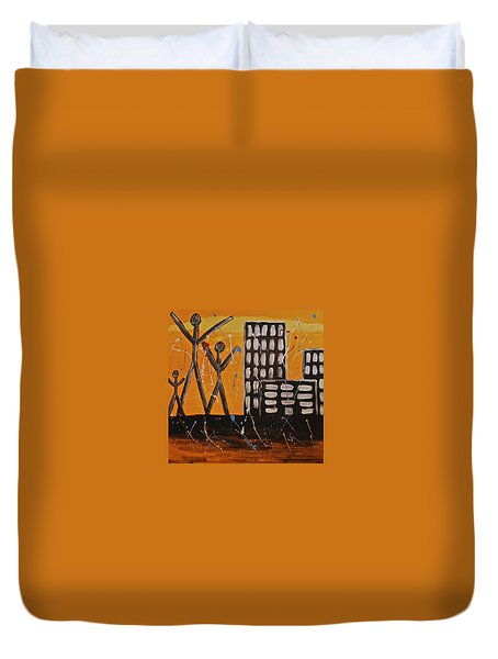 Duvet Cover featuring the painting Lost Cities 13-002 by Mario Perron