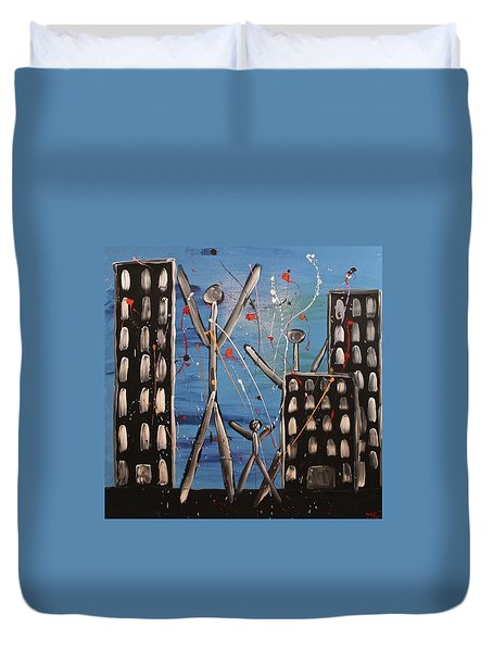 Duvet Cover featuring the painting Lost Cities 13-003 by Mario Perron