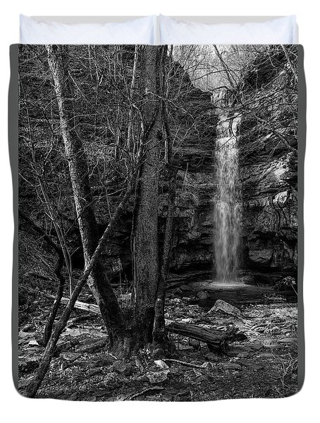 Lost Creek In Black And White Duvet Cover