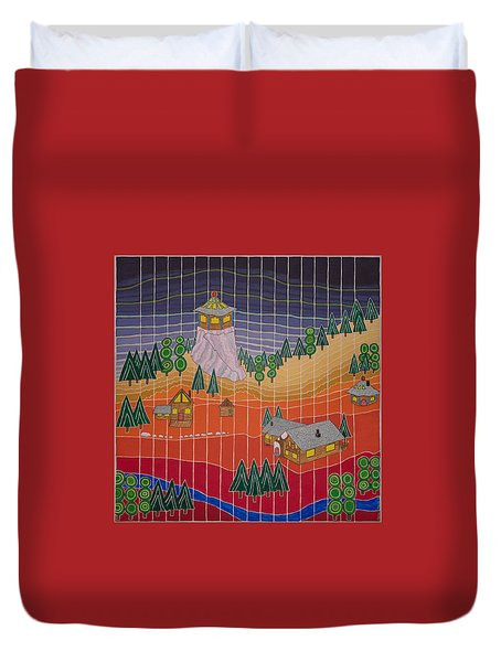 Lost Creek Lodge With Sun Temple Duvet Cover