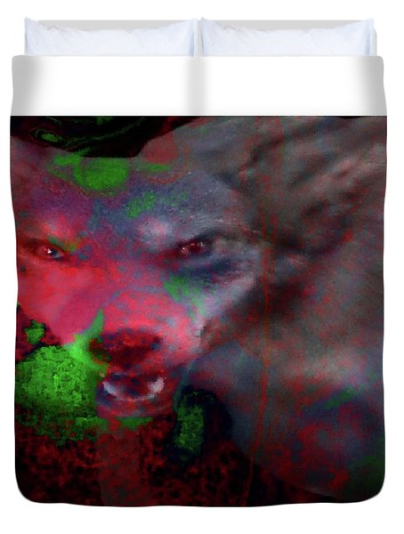 Duvet Cover featuring the mixed media Lost Dog-answers To Coy by Mike Breau