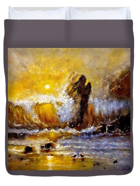 Duvet Cover featuring the painting Lost In A Sunset.. by Cristina Mihailescu