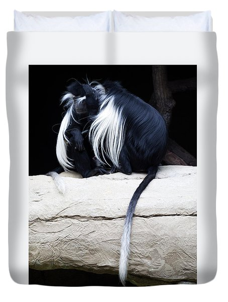 Lost In Cuddling - Black And White Colobus Monkeys  Duvet Cover