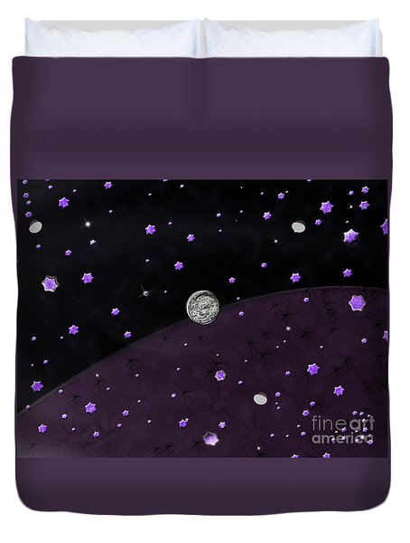 Lost In Midnight Charcoal Stars Duvet Cover