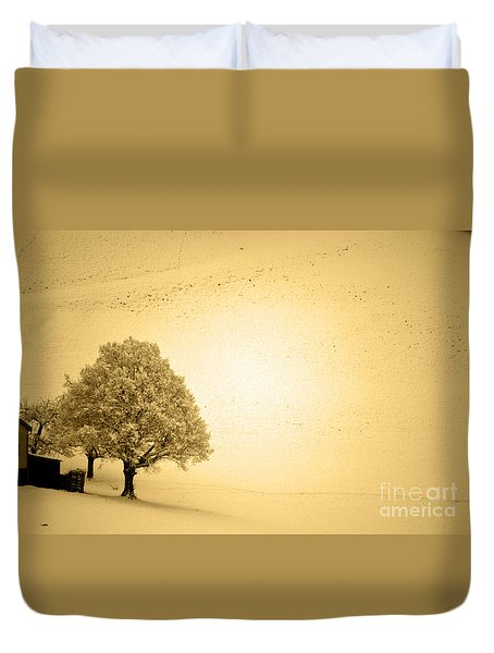 Duvet Cover featuring the photograph Lost In Snow - Winter In Switzerland by Susanne Van Hulst