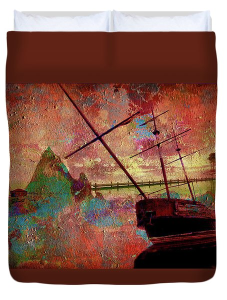 Duvet Cover featuring the digital art Lost Island by Greg Sharpe