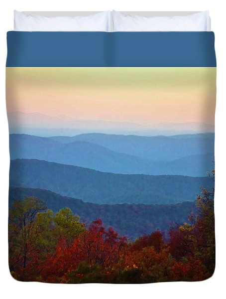 Lost On The Blueridge Duvet Cover by B Wayne Mullins