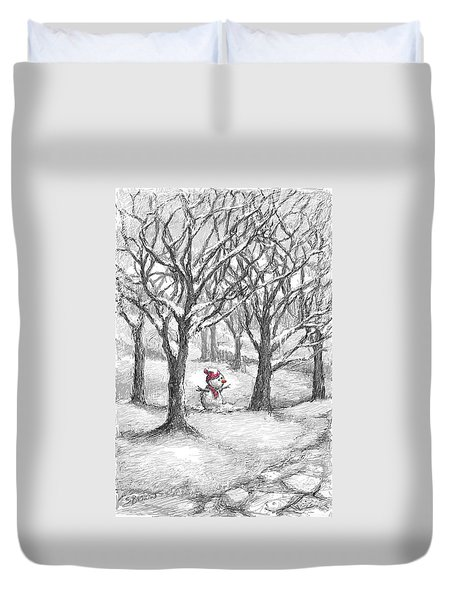 Lost Snowman Duvet Cover