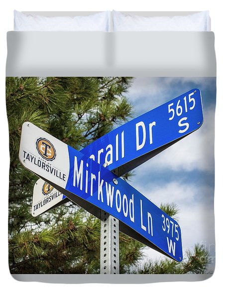 Duvet Cover featuring the photograph Lotr Mirkwood Street Signs by Gary Whitton