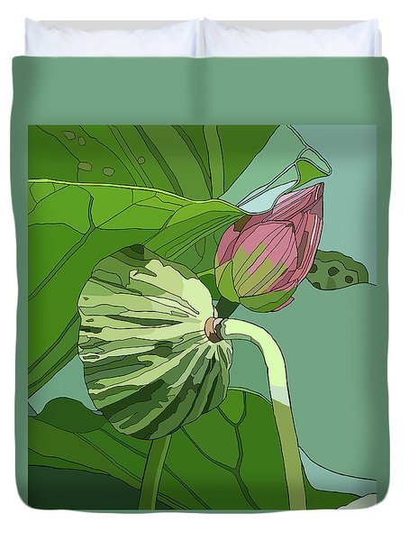 Lotus And Bud Duvet Cover