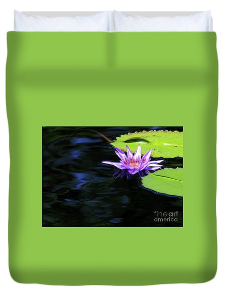 Lotus And Dark Water Refection Duvet Cover