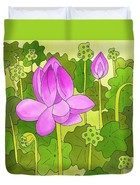 Lotus And Waterlilies Duvet Cover