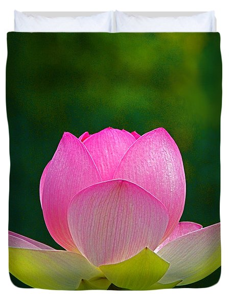 Duvet Cover featuring the photograph Lotus Blossom 842010 by Byron Varvarigos