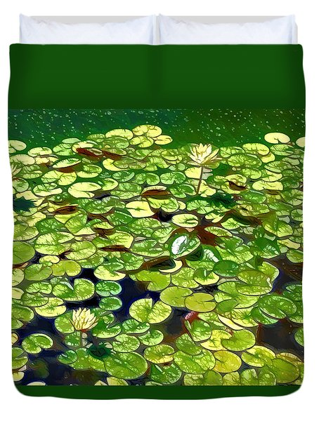 Lotus Flower Born In Water  Duvet Cover by Lanjee Chee