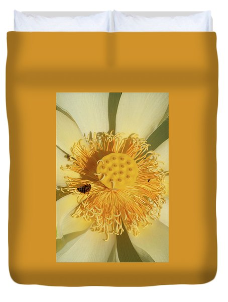 Duvet Cover featuring the photograph Lotus Flower by Carolyn Dalessandro