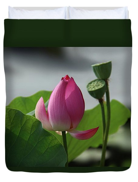 Lotus Flower In Pure Magenta Duvet Cover by Yvonne Wright