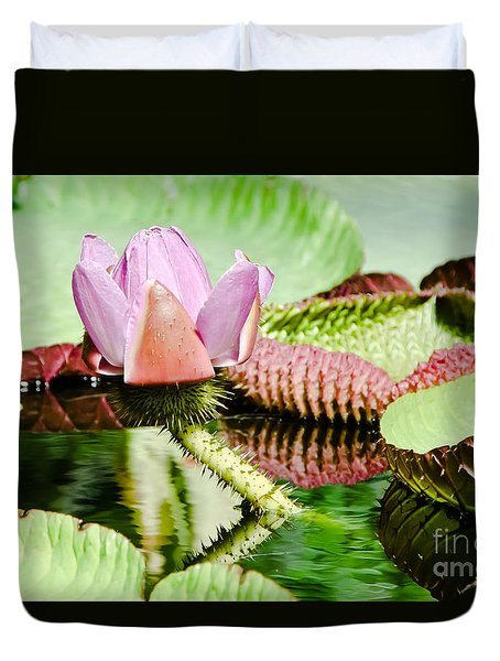 Lotus Flower In Water Duvet Cover