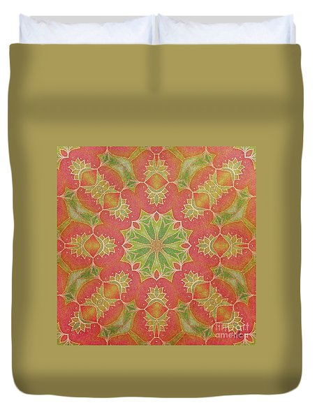 Duvet Cover featuring the drawing Lotus Garden by Mo T