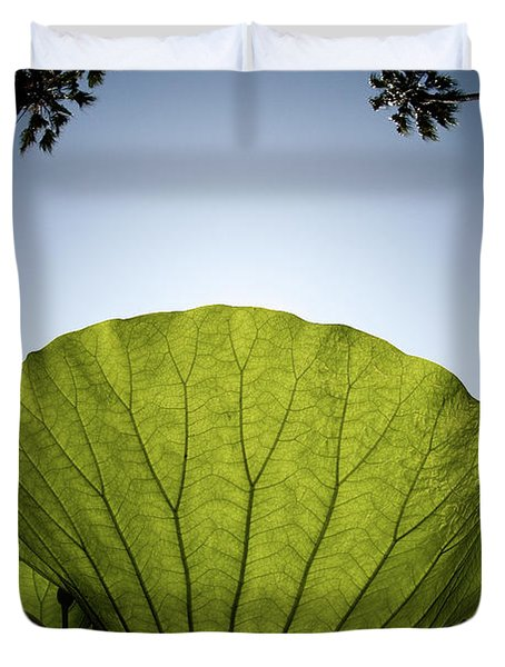 Duvet Cover featuring the photograph Lotus Leaf by Harry Spitz