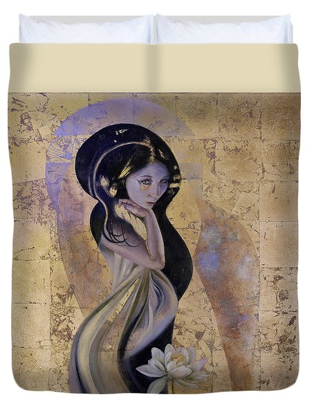 Duvet Cover featuring the painting Lotus by Ragen Mendenhall