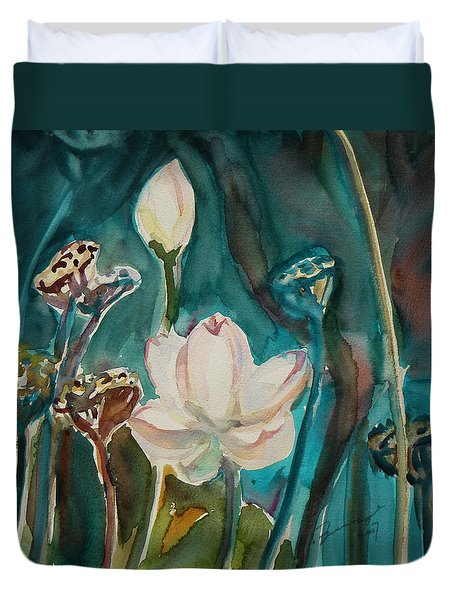 Duvet Cover featuring the painting Lotus Study I by Xueling Zou