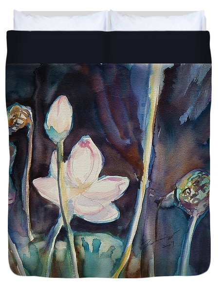 Duvet Cover featuring the painting Lotus Study II by Xueling Zou