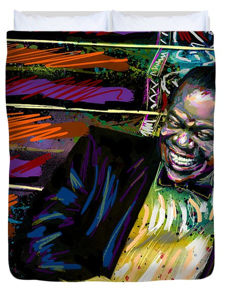 Louis Armstrong Art, Jazz Painting Duvet Cover