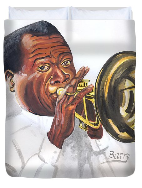 Duvet Cover featuring the painting Louis Armstrong by Emmanuel Baliyanga