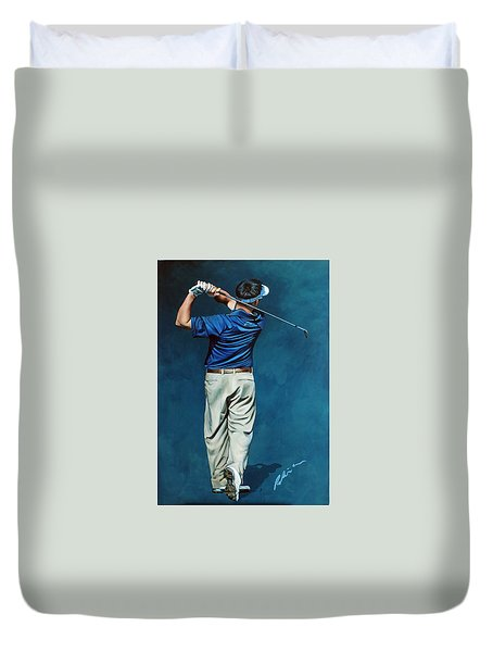 Louis Osthuizen Open Champion 2010 Duvet Cover by Mark Robinson