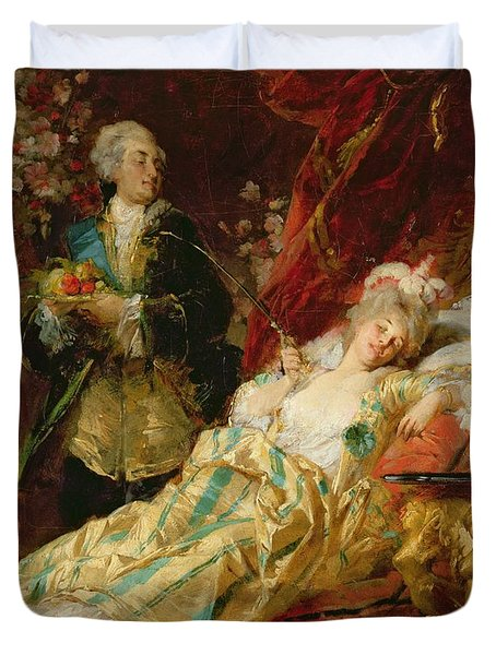 Louis Xv And Madame Dubarry Duvet Cover by  Gyula Benczur
