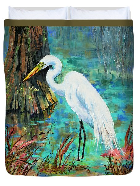Louisiana Male Egret Duvet Cover