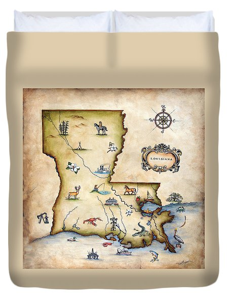 Louisiana Map Duvet Cover by Judy Merrell
