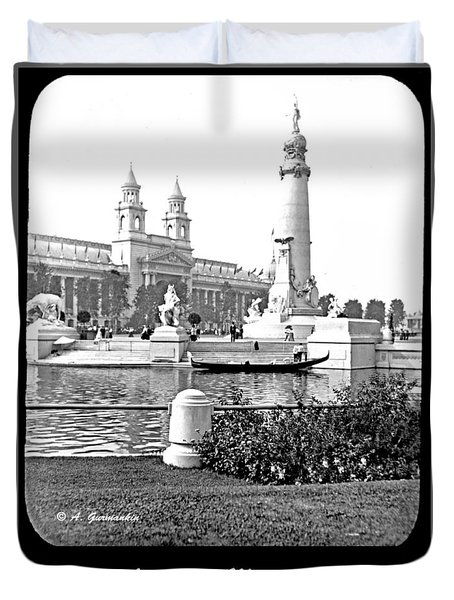 Duvet Cover featuring the photograph Louisiana Monument 1904 World's Fair by A Gurmankin