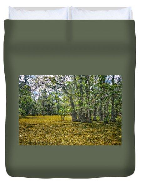 Louisiana Swamp In Gold Duvet Cover